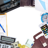 Frame of office supplies Royalty Free Stock Photos