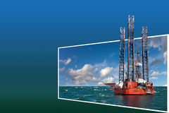 Frame with Oil Rig Royalty Free Stock Images