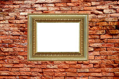 Frame on old block wall Royalty Free Stock Images