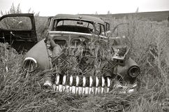 Frame of old car in junkyard(black and white) Royalty Free Stock Photo