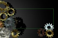 Frame with old 3D gears. Stock Images