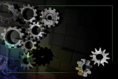 Frame with old 3D gears on a dark background. Royalty Free Stock Photography