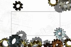 Frame with old 3D gears on a white background. Stock Photography