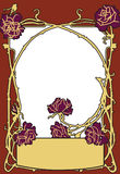 Frame old fashion style red color with roses. Retro styled vector background. stock photo