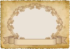 Frame. Old paper with vintage frame and ribbon Royalty Free Stock Image