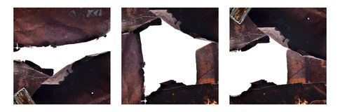 Frame of old rusty metal background Stock Photos