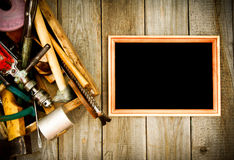 Frame with old tools (drill, mallet, saw and Royalty Free Stock Image