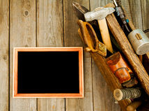 Frame with old tools (drill, pliers, ruler and Royalty Free Stock Photos