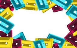 Frame from old vintage retro hipster antique stylish musical isometry voluminous audio cassette from the 70`s, 80`s, 90`s. The background. Vector illustration vector illustration