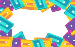Frame from old vintage retro hipster antique stylish musical isometry voluminous audio cassette from the 70`s, 80`s, 90`s. The background. Vector illustration royalty free illustration