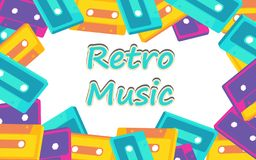 Frame from the old vintage retro hipster stylish music isometry voluminous audiocassette of the 70`s, 80`s, 90`s. And an inscription retro music. The background stock illustration