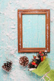 Frame on old wooden board painted Royalty Free Stock Images