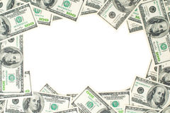 A frame of one hundred dollar bills. The skeleton of the dollar Royalty Free Stock Photos
