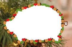 Frame for one photo of `pig, acorns and hearts` stock photo