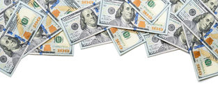 Frame one side with 100 dollar bills Royalty Free Stock Photos