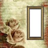 Frame op aantrekkingskracht grunge achtergrond met rozen Stock Afbeelding