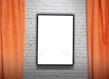 Frame op bakstenen muur en gordijnencollage Royalty-vrije Stock Afbeeldingen