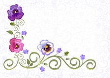 Frame with openwork ornament and flowers of violets and bluebell Stock Images