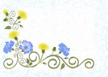 Frame with openwork ornament  and yellow  dandelions, cornflowers Royalty Free Stock Photo