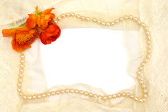 Frame from orange flower, pearls and lace Stock Images