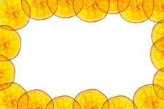 Frame  orange slice isolated on white background back lighted Stock Images