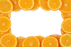 Frame of orange slices on a white Stock Photo
