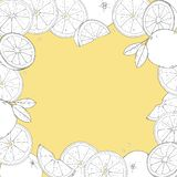 Frame with oranges. Drawing hands. Place for your text. vector illustration