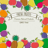 Frame of organic fruits, vector Stock Image