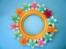 Frame with origami flowers Royalty Free Stock Photography