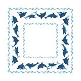 Frame with an ornament of dolphins and fish Stock Image