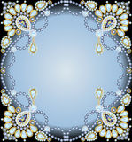 Frame with ornaments made of precious stones and pearls Stock Photos