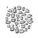 Frame with ornate mugs. Sketch for your design Stock Photography