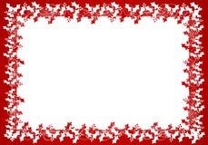 Frame ou beira branca vermelha da folha do azevinho Fotografia de Stock Royalty Free