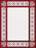 Frame ou Tag do Valentim com guarnição do guingão Fotografia de Stock