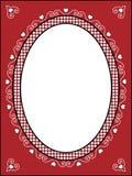 Frame ou Tag do Valentim com guarnição do guingão Imagens de Stock