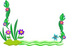 Frame of Outdoor Scene of Plants and Pond royalty free illustration