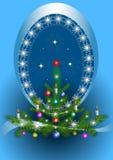 Frame oval com a árvore de Natal no fundo azul Foto de Stock Royalty Free