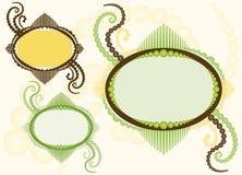Frame oval com Flourishes - três variações ilustração royalty free