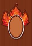 Frame oval com jorros da flama ilustração do vetor