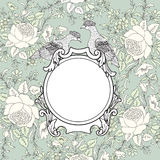 Frame over flower background. Veniette border with bird. Decorat Royalty Free Stock Photography