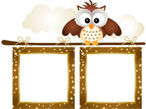 Frame with Owl and Clouds Royalty Free Stock Images