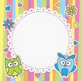 Frame with owls Stock Photography