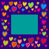 Frame with painted hearts Royalty Free Stock Photos