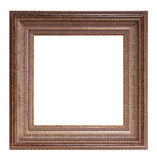 Frame for painting and picture. Antique golden brown blank frame for painting and picture over white background Stock Image