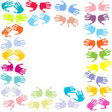 Frame with pair of hands. Frame with pair of colored hands Royalty Free Stock Photography