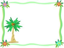 Frame of Palm Tree and Hibiscus Flower Royalty Free Stock Photography
