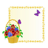 Frame with Pansies spring flowers in a basket with butterfly vintage vector Royalty Free Stock Photography