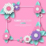 Frame with paper cut 3d flower in pink, white and violet colors. Place for text, dotted pattern. Decorative elements for. Holiday design. Vector illustration royalty free illustration