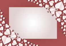 Frame by paper cut of heart shape, Logo of valentine day and love symbol. Many hearts  icon, Frame of white heart on the red background, Frame by paper cut of Stock Photography