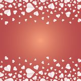 Frame by paper cut of heart shape, Logo of valentine day and love symbol. Many hearts  icon, Frame of white heart on the red background, Frame by paper cut of Stock Photo